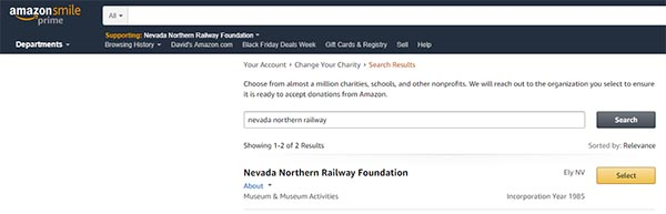 Use Amazon Smile to support the railway