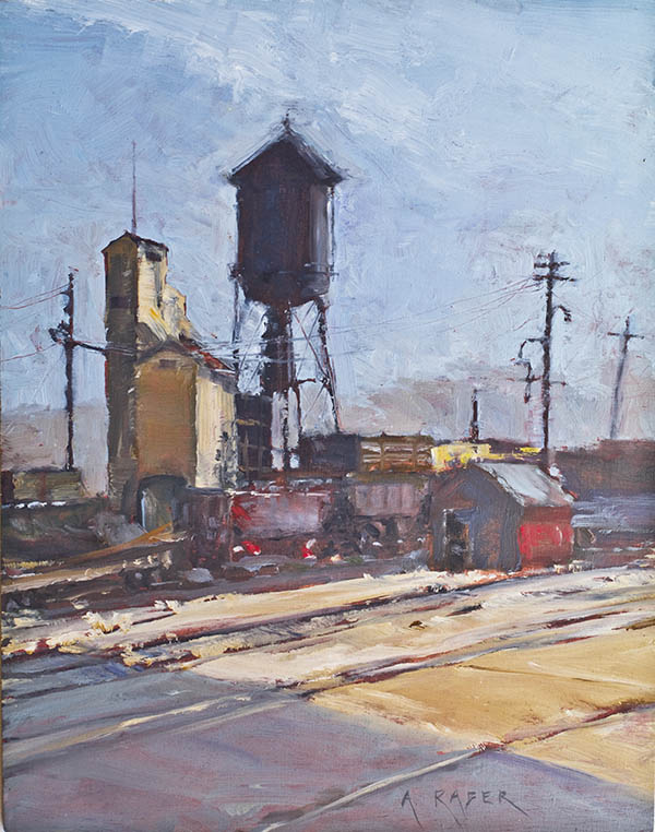 Plein Air painting of the East Ely Yard by artist April Raber