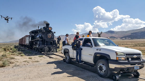Filming taking place on location at the Nevada Northern Railway