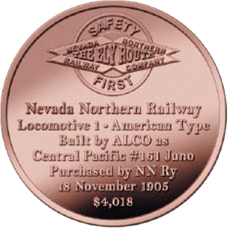 2015 Copper Coin Commemerating Locomotive #1 (back)