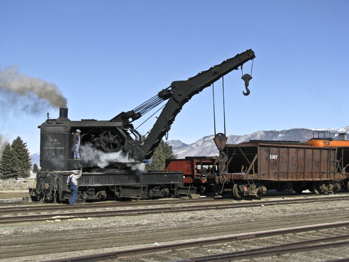 The steam crane demonstration staffed by specially trained volunteers