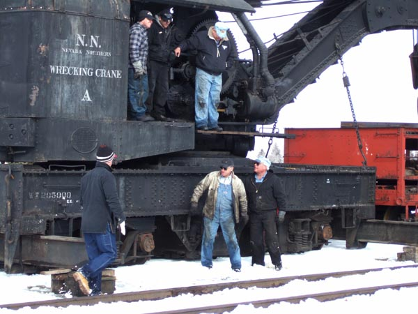The Nevada Northern Railway steam crane volunteer staff