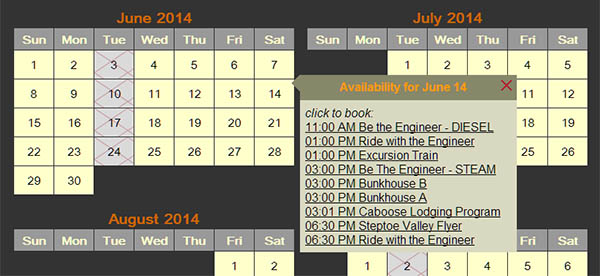 Automatic calendar generator.<br>Driven by events posted to the ticketing software system